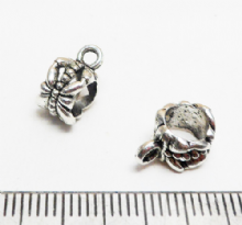 Bail - Tibetan style silver with large hole x 8